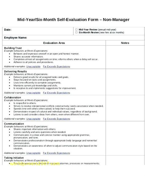 self evaluation template for employees employee self assessment exles evaluation sle