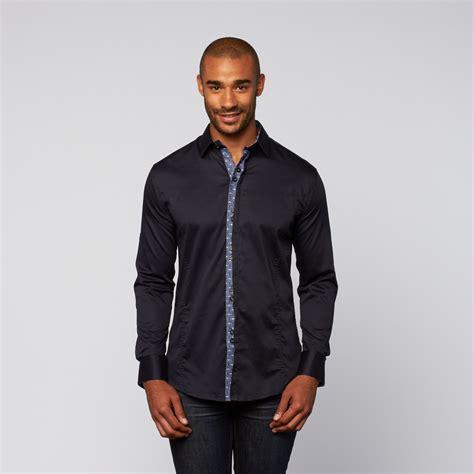 938 Blouse Flori Fink Navy graph accent shirt navy s isaac b touch of modern