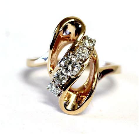 yellow gold ct womens diamond ring band  ladies estate