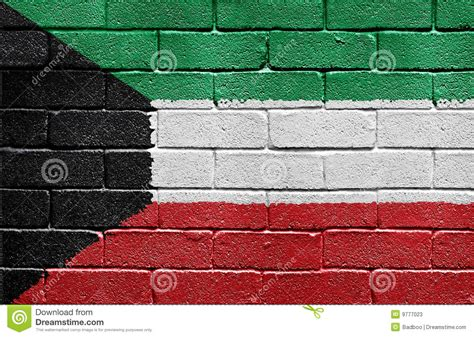wallpaper for walls kuwait flag of kuwait on brick wall stock photos image 9777023