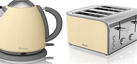 swan cream electric stainless steel 1 7l jug kettle and 4