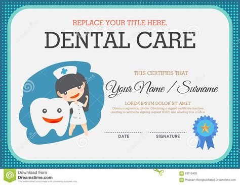 dental gift certificate template dental care certificate stock vector image of diploma