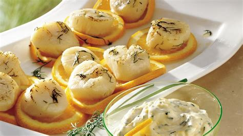 orange mayonnaise grilled scallops with orange chive mayonnaise recipe from