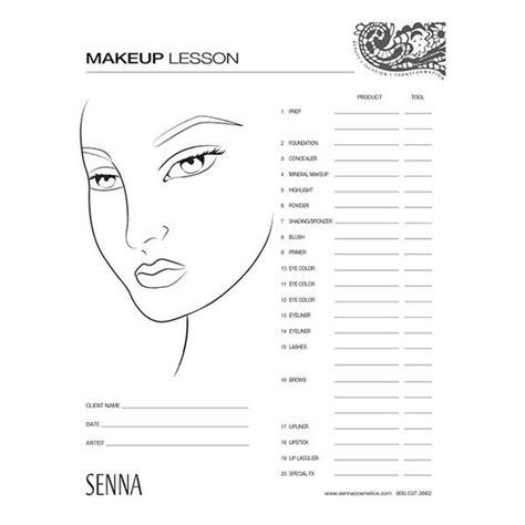 Senna Makeup Artist Face Charts Camera Ready Cosmetics Makeup Chart Template