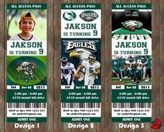 printable eagles tickets philadelphia eagles birthday party event ticket invitation