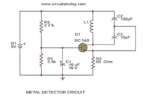 bc548 transistor circuit the simplest metal detector with one bc548 measuring and test circuit circuit diagram