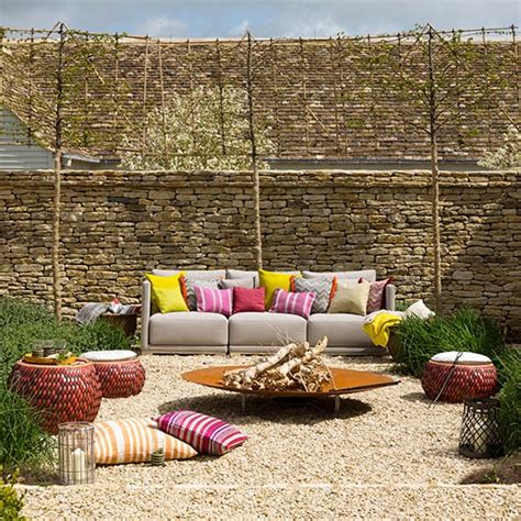 outdoor feuerstelle walled garden with sofa and pit garden decorating
