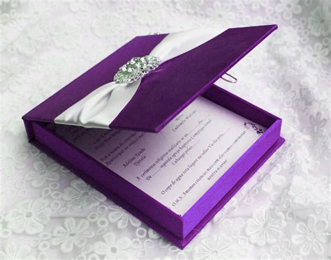 Item Code HI2015 Luxury Purple / Royal Blue Silk Box Wedding Invitation with Ribbon and