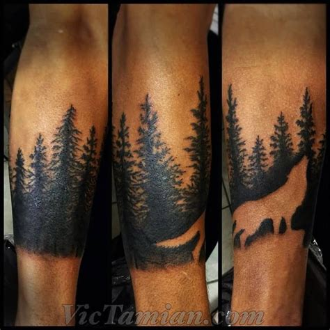 tattoo geometrico outline wold and forest tree tattoos on arm tattoo