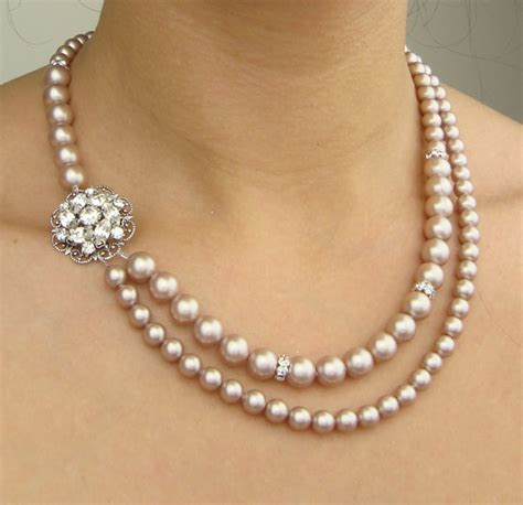 Champagne Pearl Bridal Necklace Wedding Jewelry Champagne