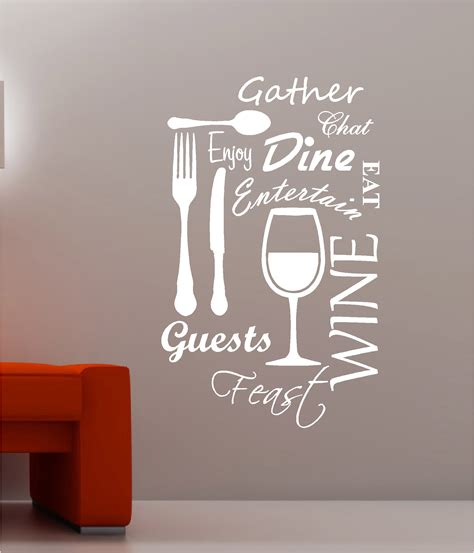 kitchen wall quote stickers kitchen word cloud vinyl wall quote sticker dining food wine ebay