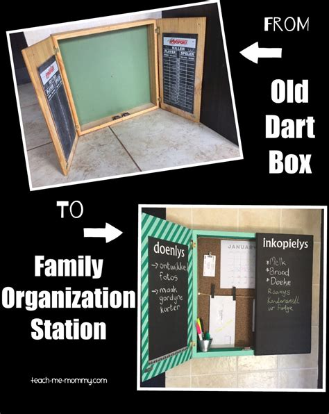 family organization from old dart box to family organization station teach