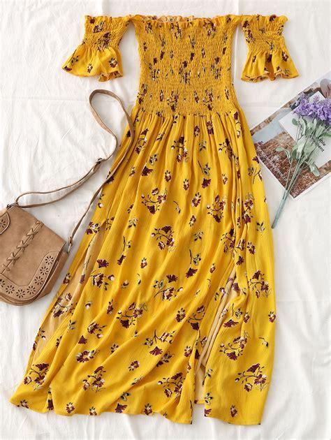 Marina Dress Bohemian Midi Yellow zaful shoulder floral print midi dress ruffled