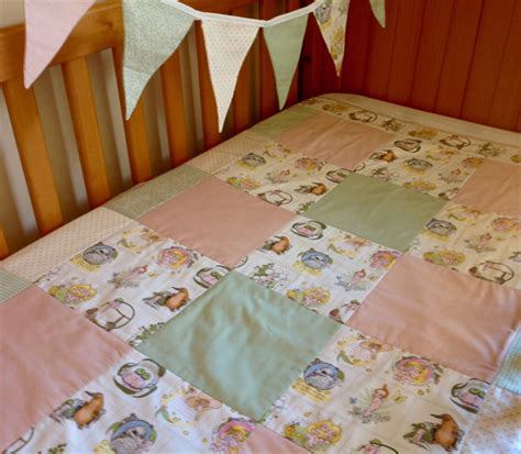 Patchwork Cot Bedding - pink green quot gumnut babies quot cot quilt modern patchwork
