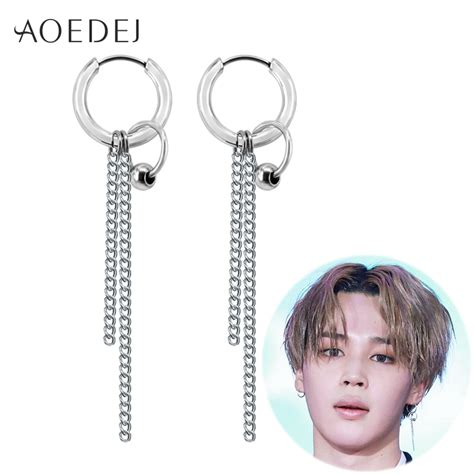 bts earrings aoedej bts jimin earrings long tassel hoop earrings men