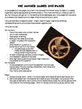the hunger games culminating one pager by mrs eae | tpt