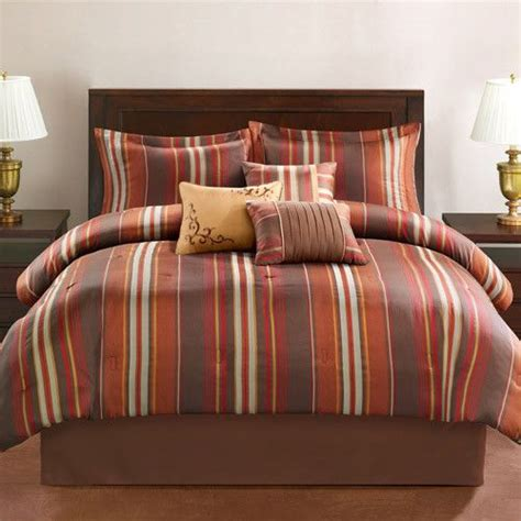 orange and brown bedding king brown orange red gold earthtone stripe 7pc comforter