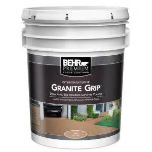 behr 5 gal 65505 tan granite grip interior exterior concrete paint 65505 the home depot