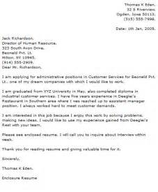 cover letter sles for customer service cover letter exles for customer service and sales