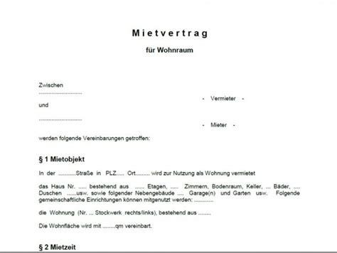 mustermietvertrag wohnung word vorlage mietvertrag wohnung shareware de
