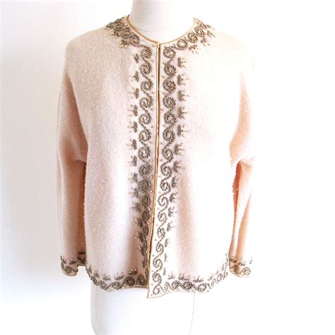 beaded cardigan vintage 50s beaded sweater beige cardigan irene sweater