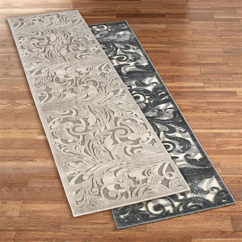 Gray Runner Rug Tantalizing Graphic Scroll Gray Rug Runner