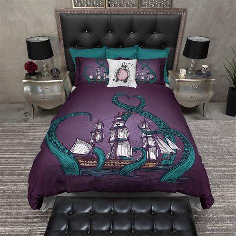 purple and teal bedding teal tentacle purple octopus kraken ship bedding ink and