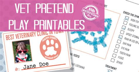 Vet Pretend Play Free Kids Printables Veterinarian Badge Template