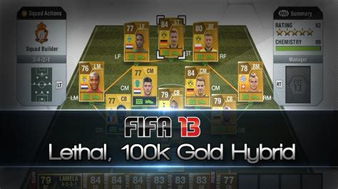 fifa 13 lethal 100k hybrid team ultimate team squad