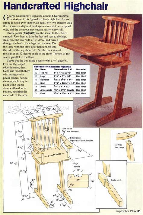 high chair woodworking plans children s handcrafted highchair plans woodarchivist