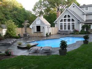 Backyard Pool House Awesome Exterior House With Beautiful Backyard Landscape With Chairs To The