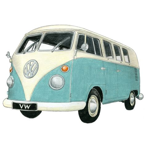 vw camper drawing limited edition print | drawing of a