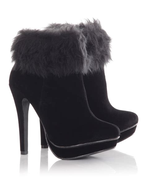 faux fur high heel boots blue inc womens fur cuffed faux suede high heel ankle