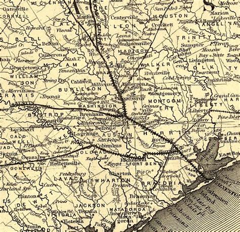texas railroad maps houston texas central railroad historical map 1867