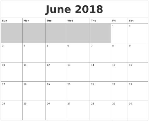 printable calendar empty june 2018 blank printable calendar