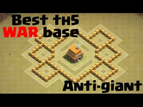 Layout Coc Anti Giant | th5 war base anti giant healer clash of clans youtube