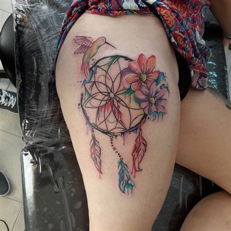 thigh dreamcatcher tattoo designs collection of 25 hummingbird dreamcatcher on thigh