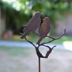 silhouette oiseaux sur branche d 233 co de jardin en m 233 tal