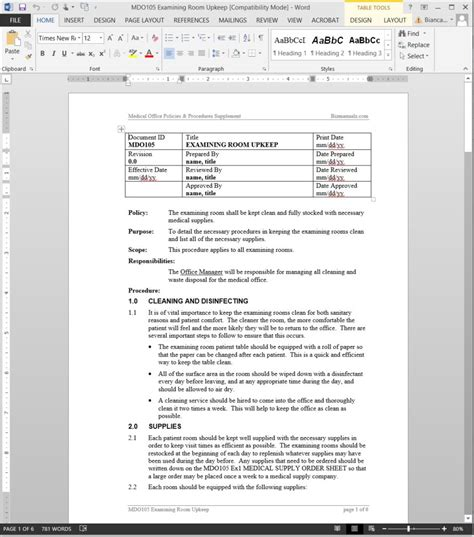 small business policy and procedures manual template examining room upkeep procedure