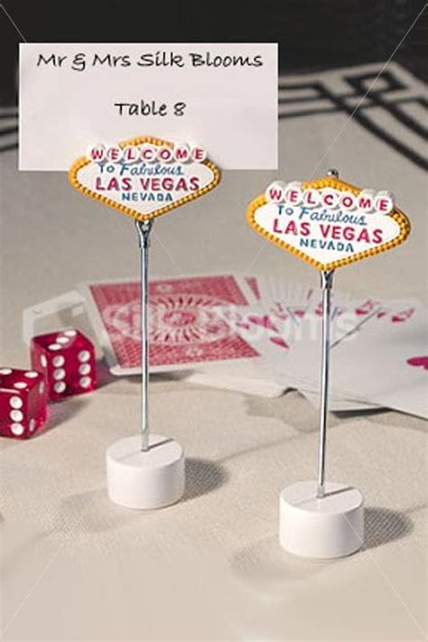 vegas wedding place cards shop las vegas sign themed wedding place card holders from silk blooms