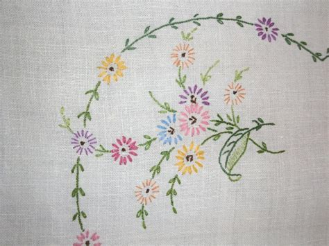 embroidery design for table cloth vintage tablecloth hand embroidery perfect cottage or shabby