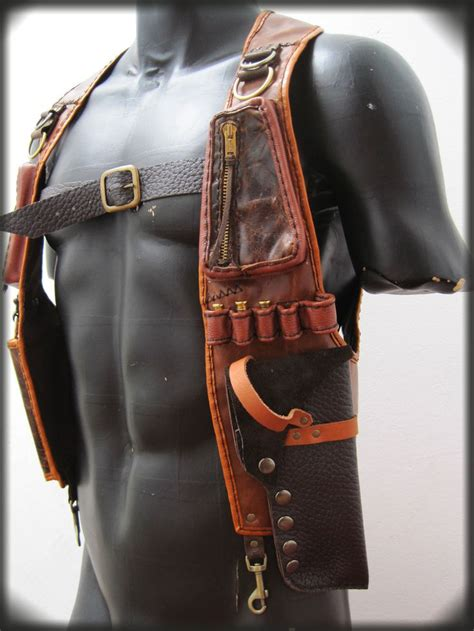 leather gun holster leather gun holster with pouches by ahniradvanyi on etsy