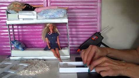 how to make a barbie bed how to make doll bunk beds easy doll crafts youtube