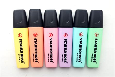 Highlighter Stabilo Pastel Colours 6 pastel stabilo highlighters pastel pens stabilo pens highlighting pens from