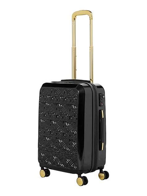 Cabin Luggage House Of Fraser by Biba Logo Emboss Black 8 Wheel Cabin Suitcase House Of