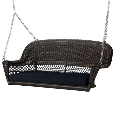 Jeco Wicker Porch Swing Espresso W Black Cushion Ebay
