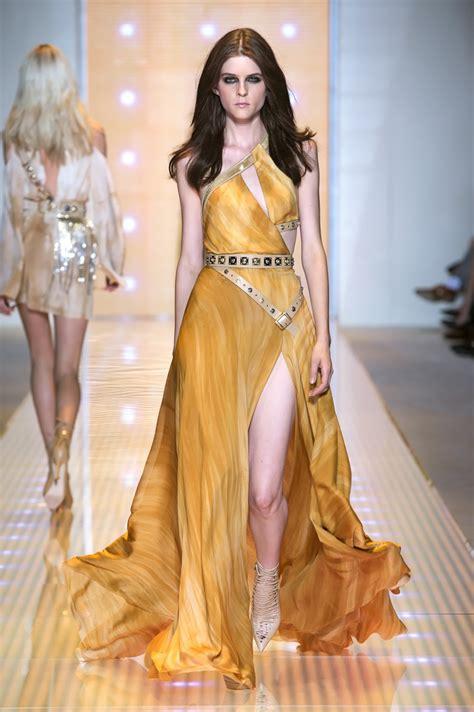pinterest womens fashion fall 2013 summer orange gold mesh gown versace women s spring summer