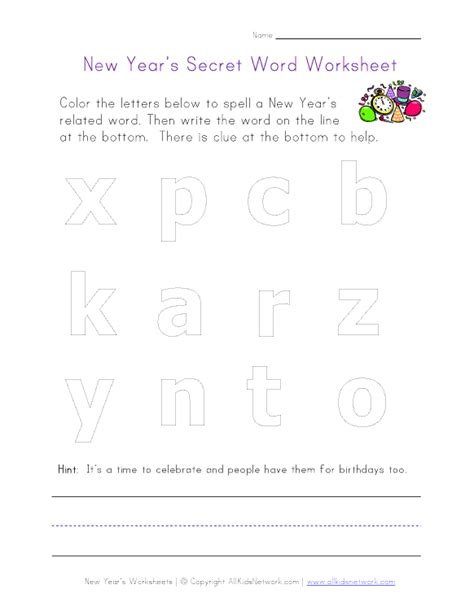 new year worksheets new year s secret word worksheet