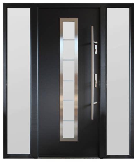 Exterior Door Finish Modern Entry Door With Sidelites Gray Finish Contemporary Front Doors By Ville Doors