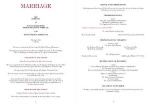 christian wedding order of service template royal wedding order of service princess diana funeral
